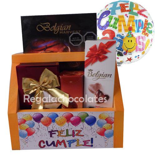 Chocolates Belgian y globo de cumpleaños a domicilio en Santiago