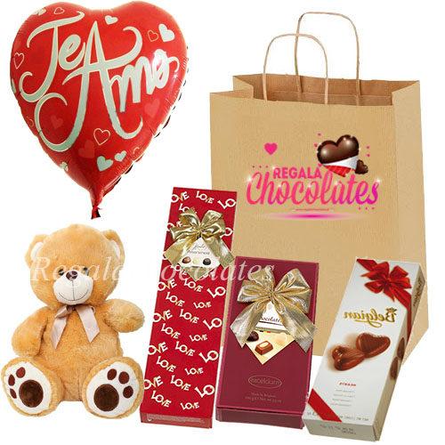 Peluche con chocolates para amar a domicilio en santiago