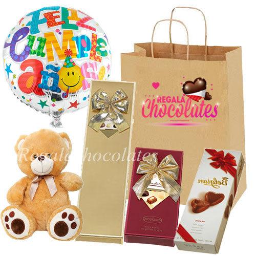 Peluche con Chocolates para Cumpleaños a domicilio en santiago