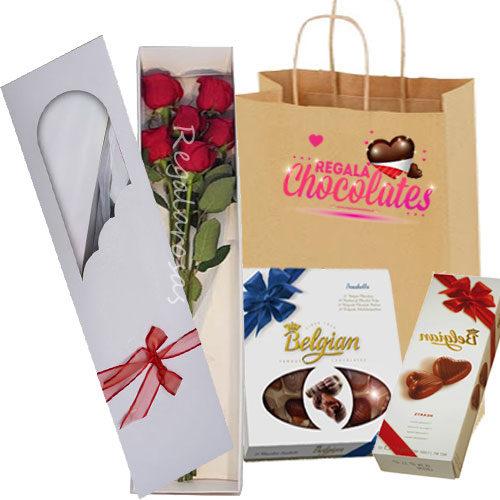 Chocolates con 6 rosas rojas a domicilio en santiago