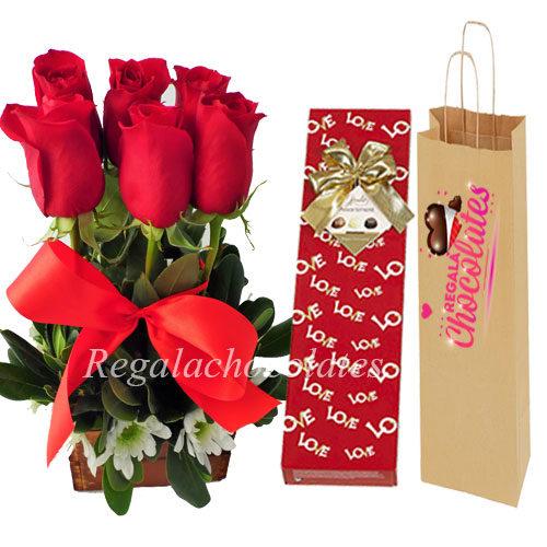 Chocolates con Arreglo de rosas a domicilio en santiago