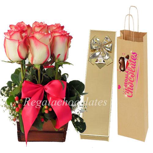 Chocolates con Arreglo Rosas rosadas a domicilio en santiago