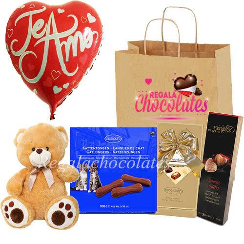 Peluche y Globo te amo con chocolates a domicilio en santiago