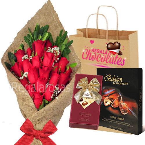 Chocolates y Ramo con 25 Rosas Rojas a domicilio en santiago