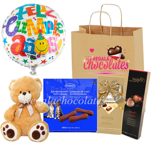 Peluche con globo cumpleaños y chocolates a domicilio en santiago