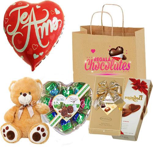 Peluche y bombones de chocolate Amor A domicilio en santiago