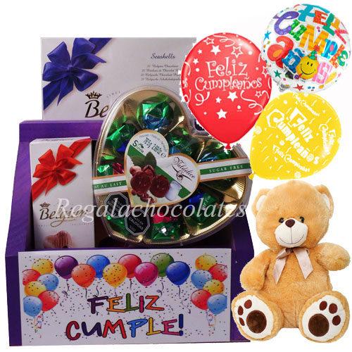 Chocolates con pack de Globos y oso a domicilio en Santiago