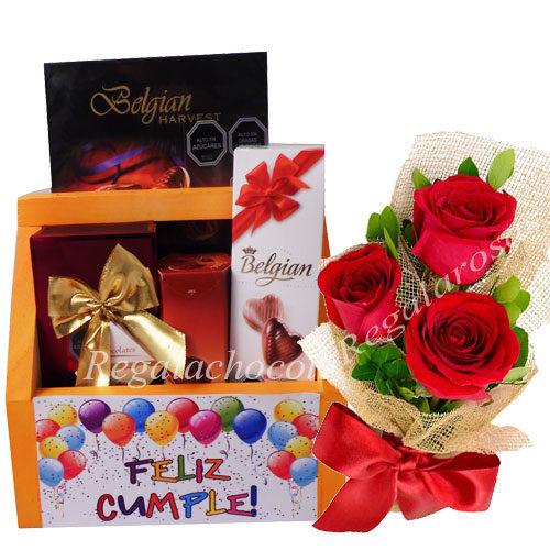 Chocolates con caja Feliz cumplea y 3 rosas a domicilio en santiago