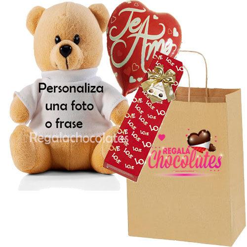 Peluche personalizado con chocolates que enamoran a domicilio en santiago
